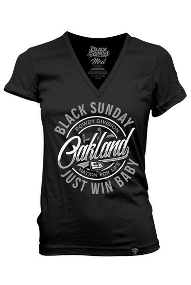 Oakland Circle Womens V-Neck Tee