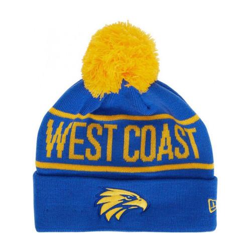 West Coast Eagles New Era Pom Beanie Royal
