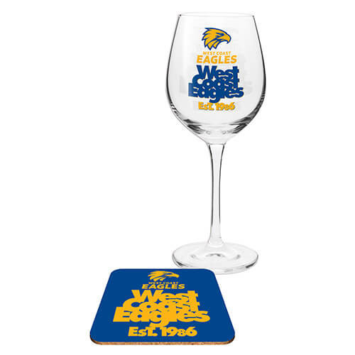 West Coast Eagles Wine Glass & Coaster Set