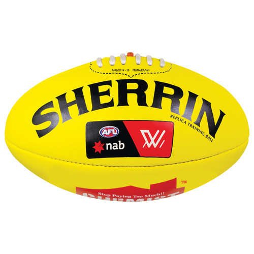 West Coast Eagles Sherrin AFLW Replica Training Ball Yellow