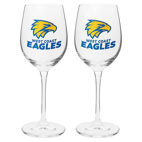 West Coast Eagles Wine Glass Set 2pc