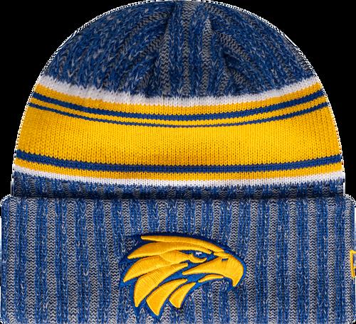 West Coast Eagles New Era Stripe Knit Beanie Royal/Gold