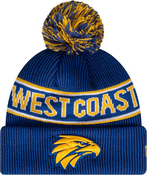 West Coast Eagles New Era Authentic Pom Knit Beanie Royal/Gold