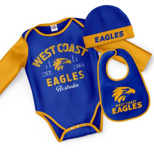 West Coast Eagles Infant 3pc Bodysuit Set