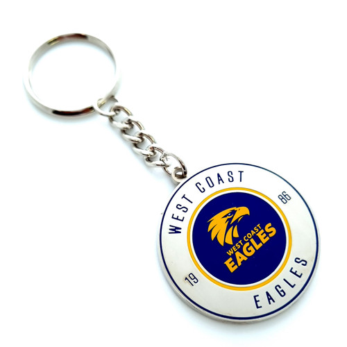 West Coast Eagles Round Logo Keyring