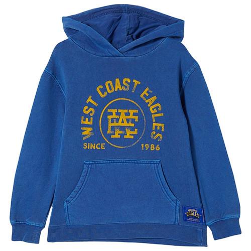 West Coast Eagles Kids Flocked Pocket Hood