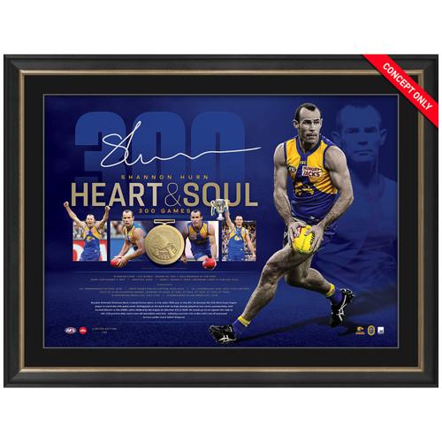 West Coast Eagles Shannon Hurn 300 Game Framed & Signed Memorabilia Piece *PRE-ORDER*
