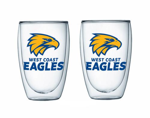 West Coast Eagles 2pc Double Wall Coffee Glass