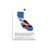 CNP California map and flag, glossy poster