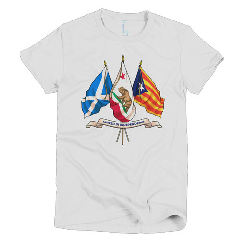 Three nations united in Independence. Short sleeve women's t-shirt (form fitting)
