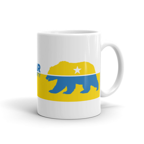 #FreeTheBear Mug, Yellow and Blue