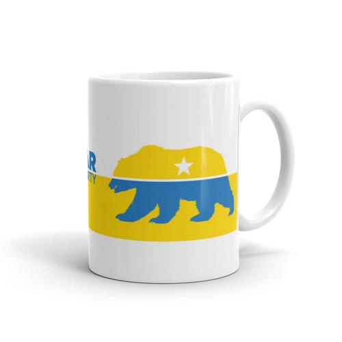 #FreeTheBear Mug, Yellow and Blue