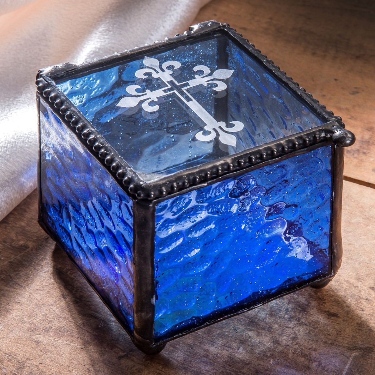 Blue Stained Glass Etched Cross Jewelry Box | Religious Gift | J. Devlin Box 709-3