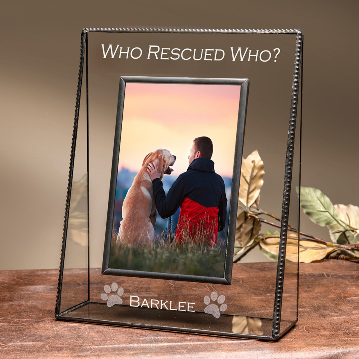Who Rescued Who Personalized Frame For Rescue Animal 4x6 Vertical