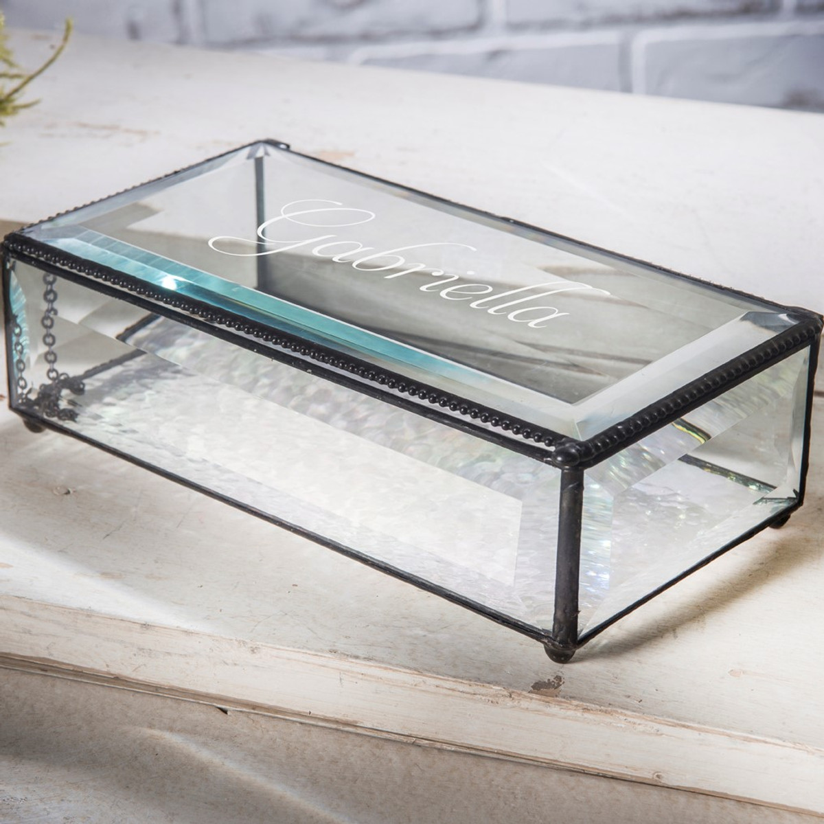 Personalized Gifts J Devlin Large Elegant Clear Beveled Glass Engraved Keepsake Display Box 830 Eb304