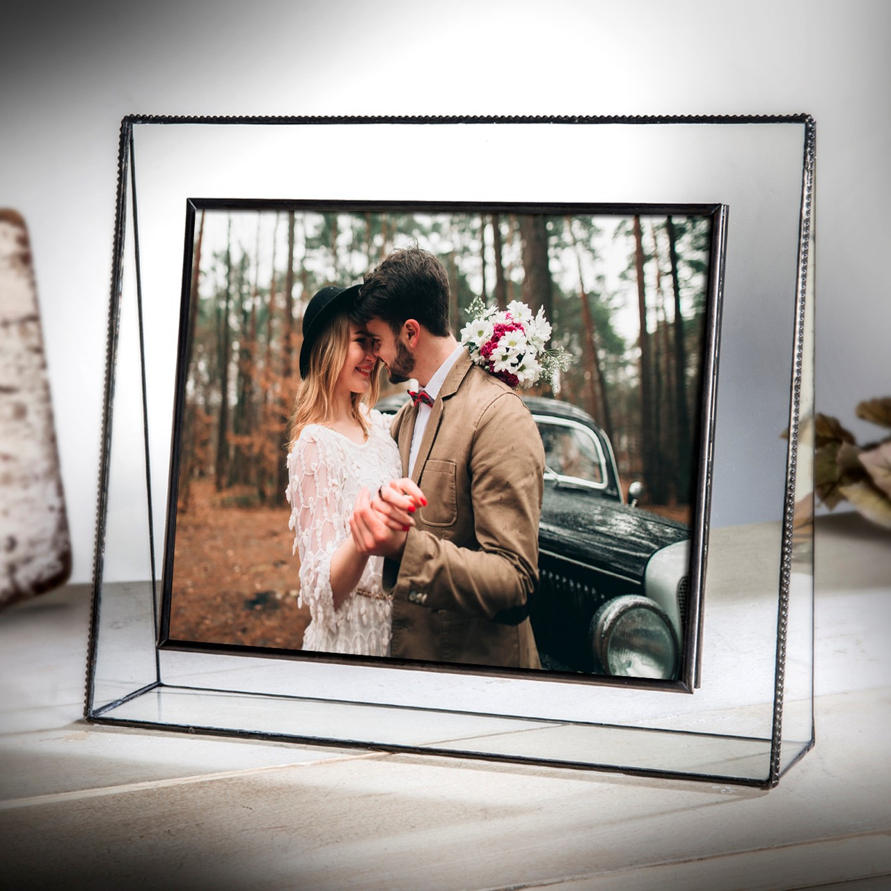 Glass Picture Frame Beaded Edging Vintage Glass Gifts