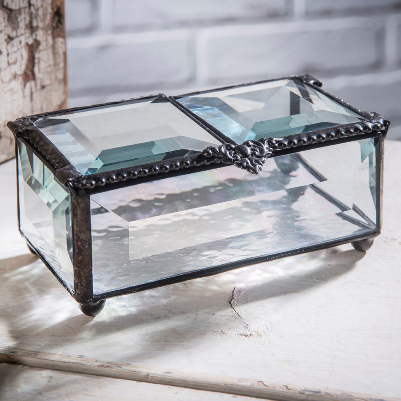 Clear Glass Double Hinged Glass Jewelry Boxes J Devlin Box 676