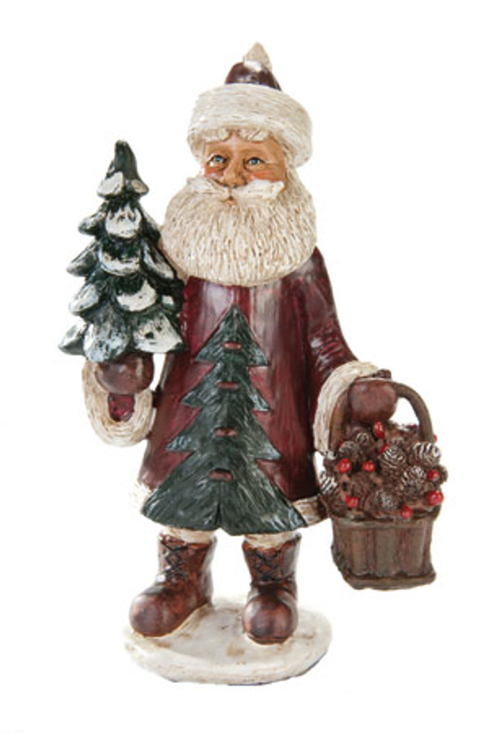 Red Santa With Tree Figurine