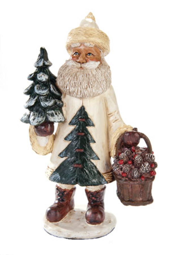 White Santa With Tree Figurine
