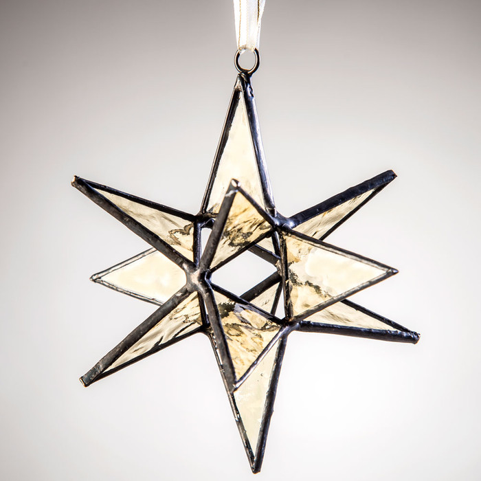 This J. Devlin small dimensional Antique Veil English muffle glass star ornament demands attention in any room.
