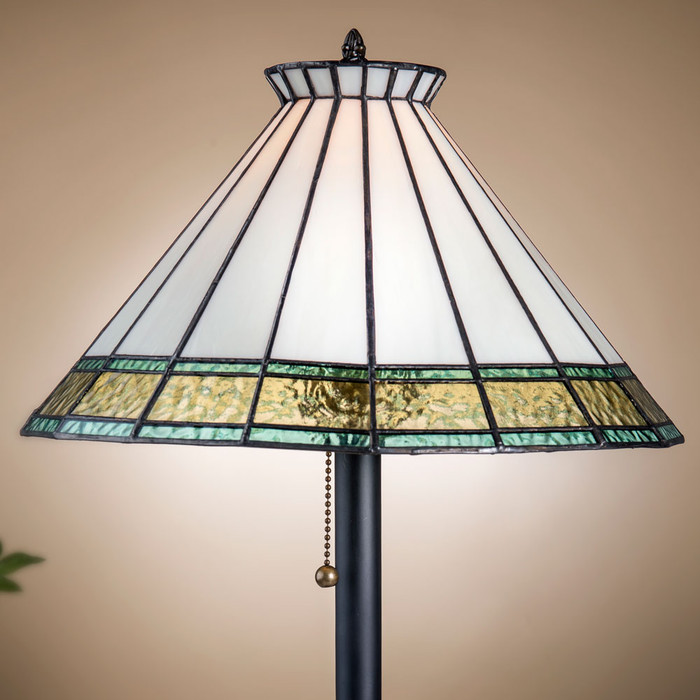 J. Devlin table lamp features Flaxen Tint, Windsor Blue, and Ivory with crown accent.