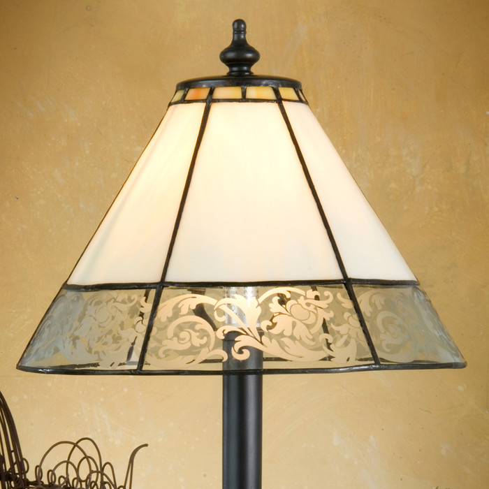 Add soft light to dark corners in your living room or home office with this vintage-looking stained glass mini-lamp.