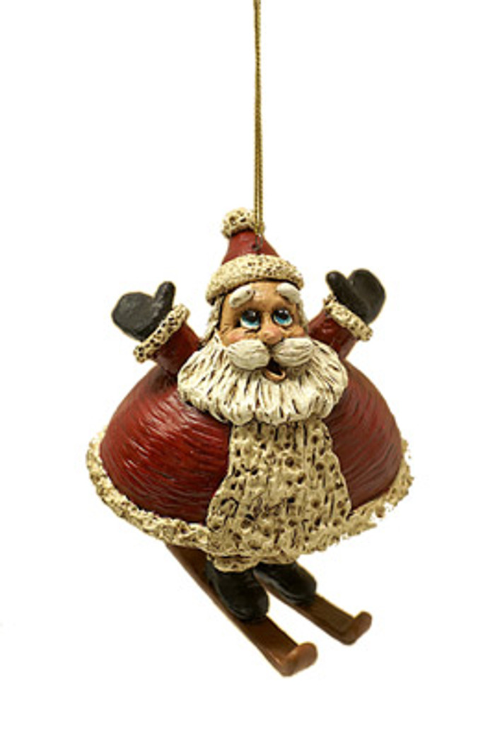 Bert Anderson Dangly Skiing Santa Ornament