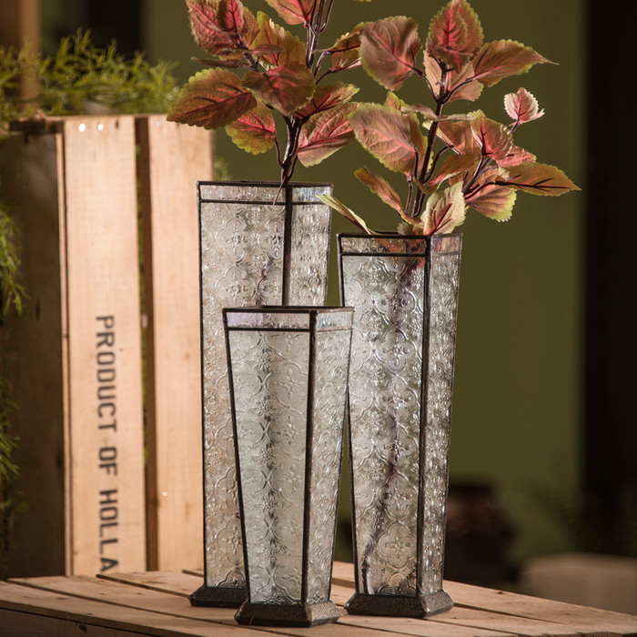 Glass vase set of 3