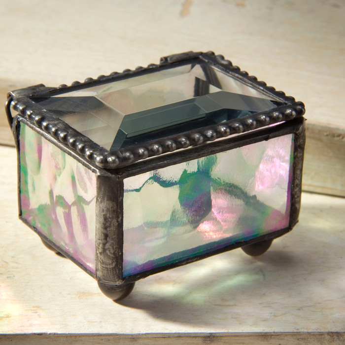 vintage glass jewelry and keepsake box