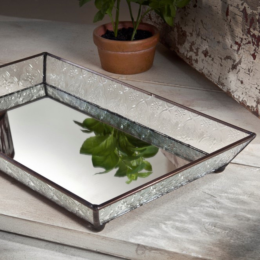J. Devlin Tra 106-1 Glass Tray With Slant Sides, Mirror Bottom