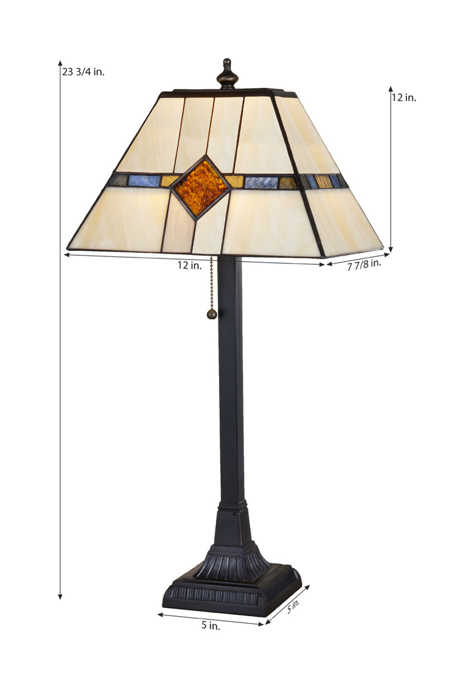 Amber, Blue, Moss Green Stained Glass Mission Table Lamp Lam 656 TB
