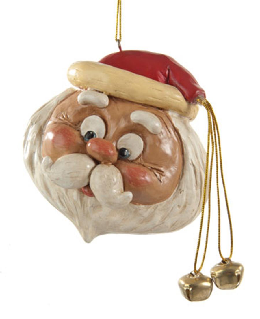 Dangly Bell Santa Ornament