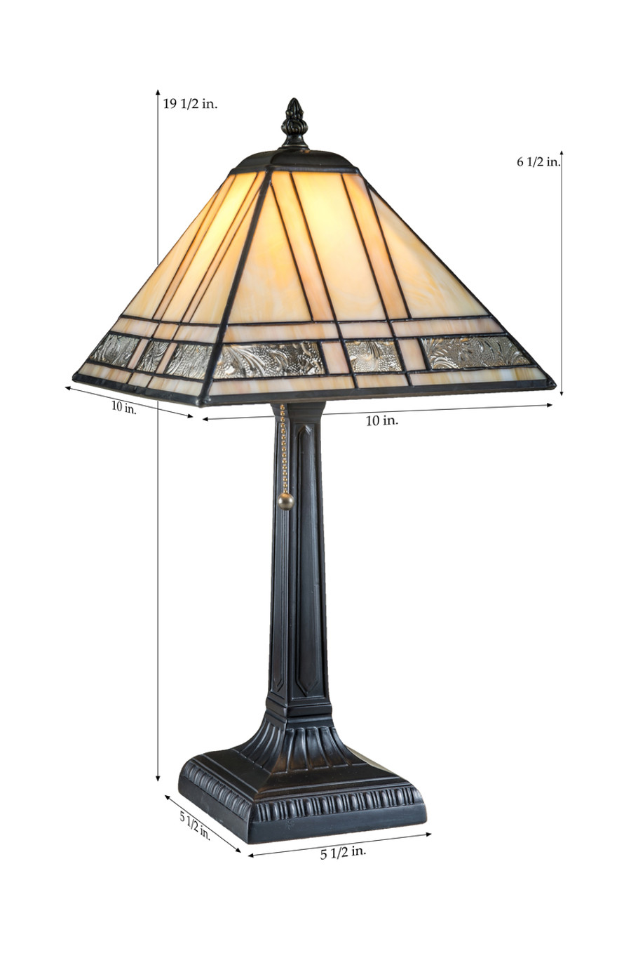 Amber Opal, Sunset Opal, Clear Autumn Floral Table Lamp Lam 380-2 TB