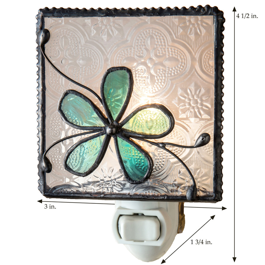 Flower Night Light with Clear & Aqua Blue Stained Glass NTL 129-3