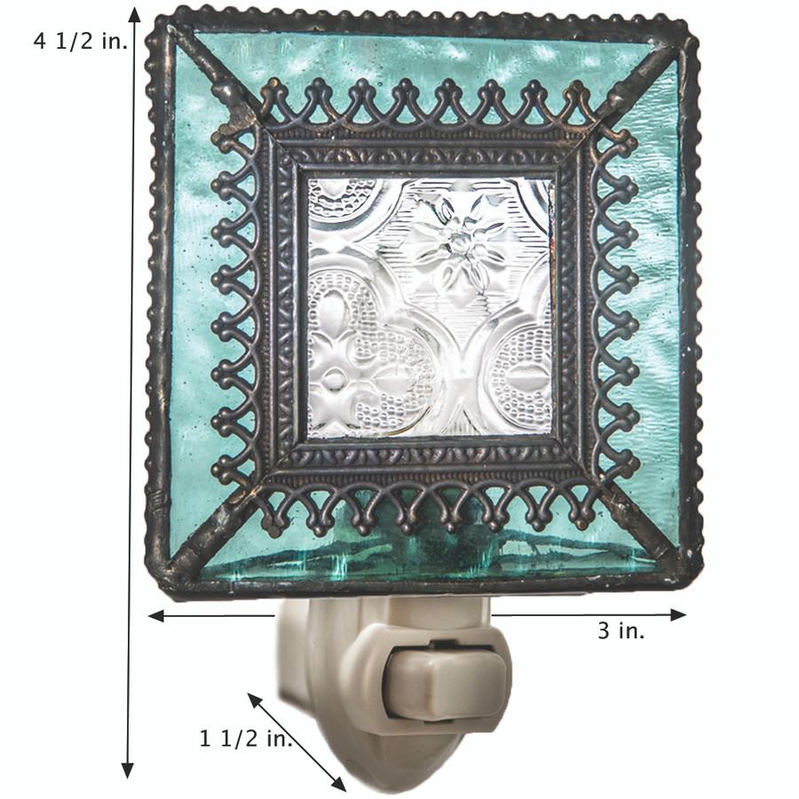 J. Devlin NTL 166 Vintage Stained Glass Night Light Aquamarine