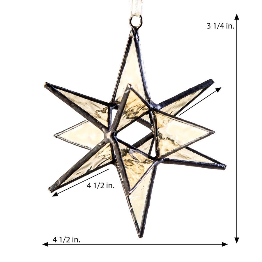 J. Devlin Orn 250 Antique Veil English Muffle Glass Star Ornament, Small