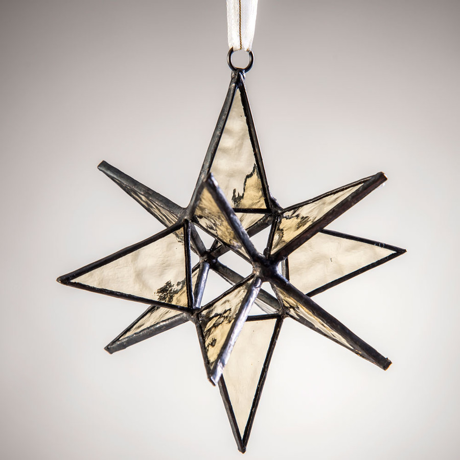 This large dimensional Antique Veil English muffle glass star ornament demands attention in any room.