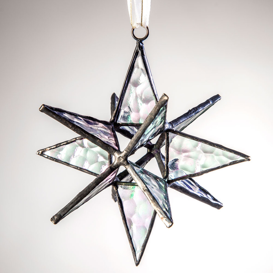 J. Devlin's clear iridized English muffle glass star ornament reflects light in all directions, making it a wonder to behold.
