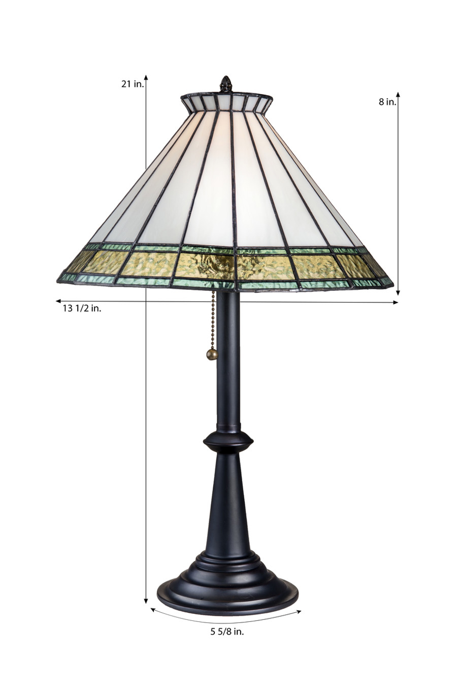 J. Devlin Lam 654-2 TB Ivory, Flaxen Tint, Windsor Blue English Muffle Glass Table Lamp