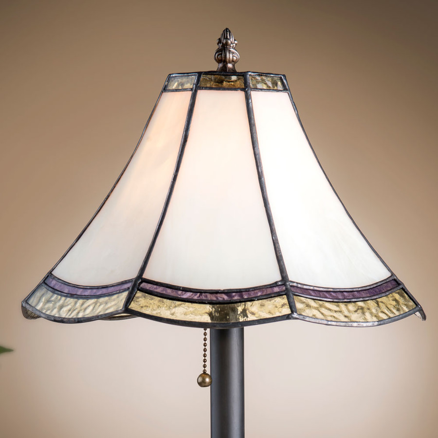 English muffle glass lamp features eight sides of Ivory, Flaxen Tint, and Salvation Jane colors.