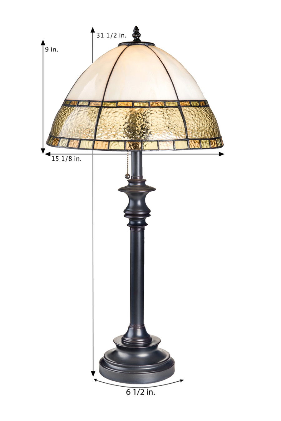 Large Curved English Muffle Table Lamp Lam 592-4