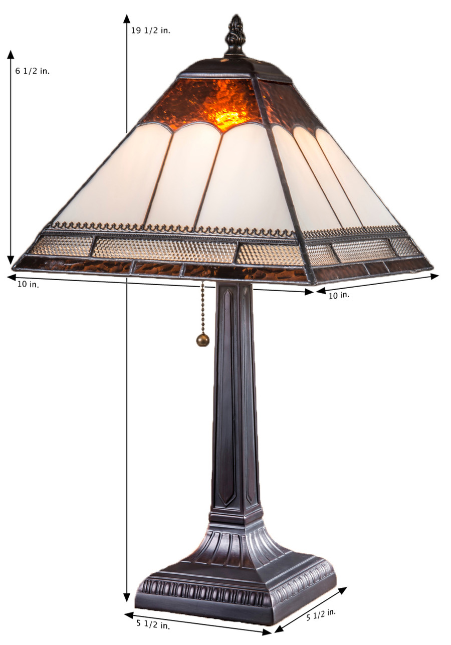 Ivory & Rich Brown Small Mission Style Table Lamp  Lam 684 TB