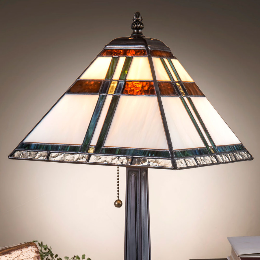 J. Devlin Lam 690 TB Small Mission Style Table Lamp With Blue, Green, Brown Accents