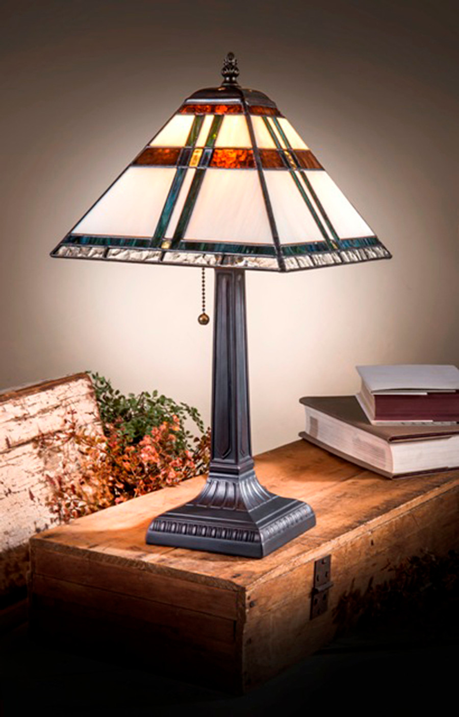 Ivory with Blue, Green & Brown Accents Small Mission Style Table Lamp Lam 690 TB