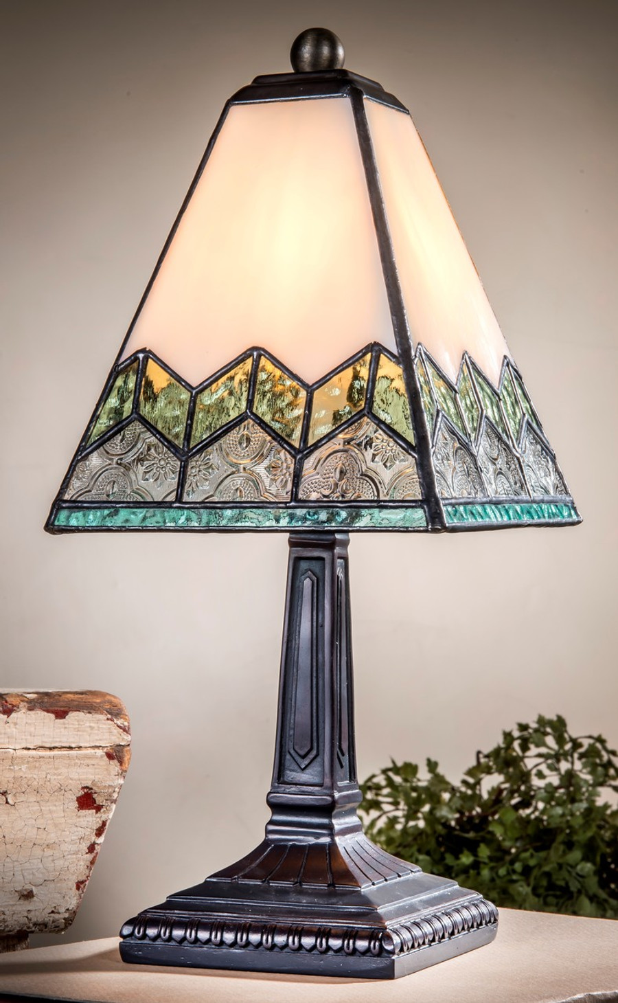 Chevron Mission Style Table Lamp with Green Blue & Clear Stained Glass Lam 698 TB