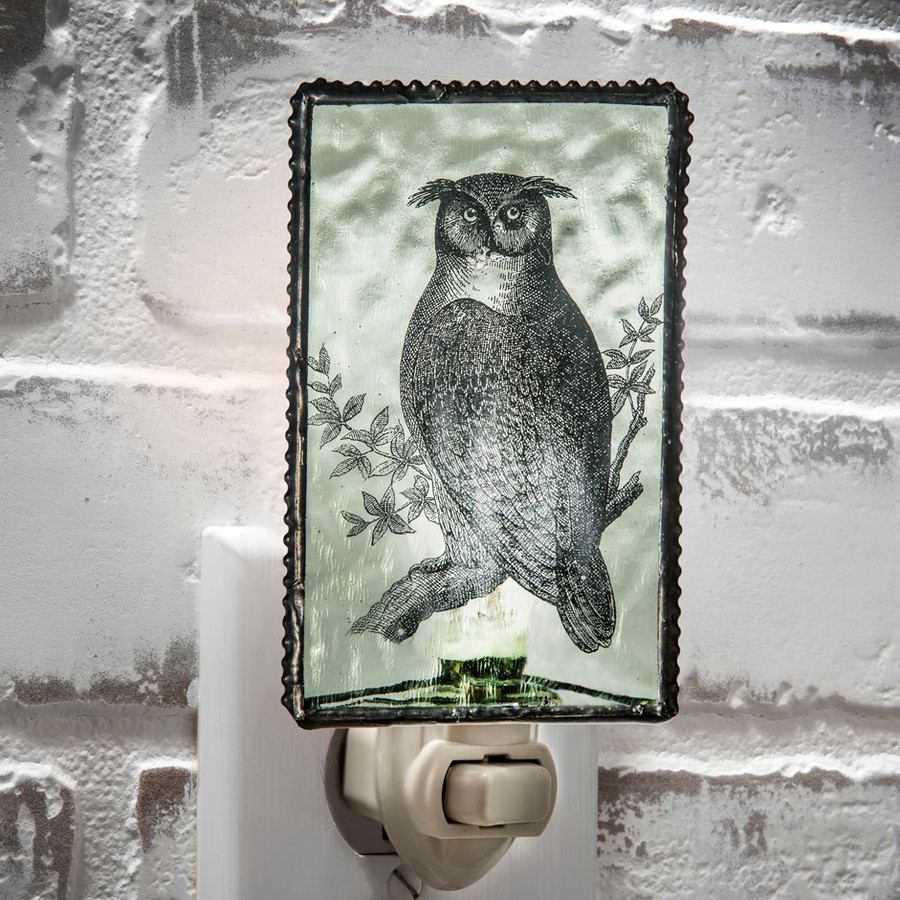J. Devlin NTL 131-2 Pale Green Owl Stained Glass Bird Night Light