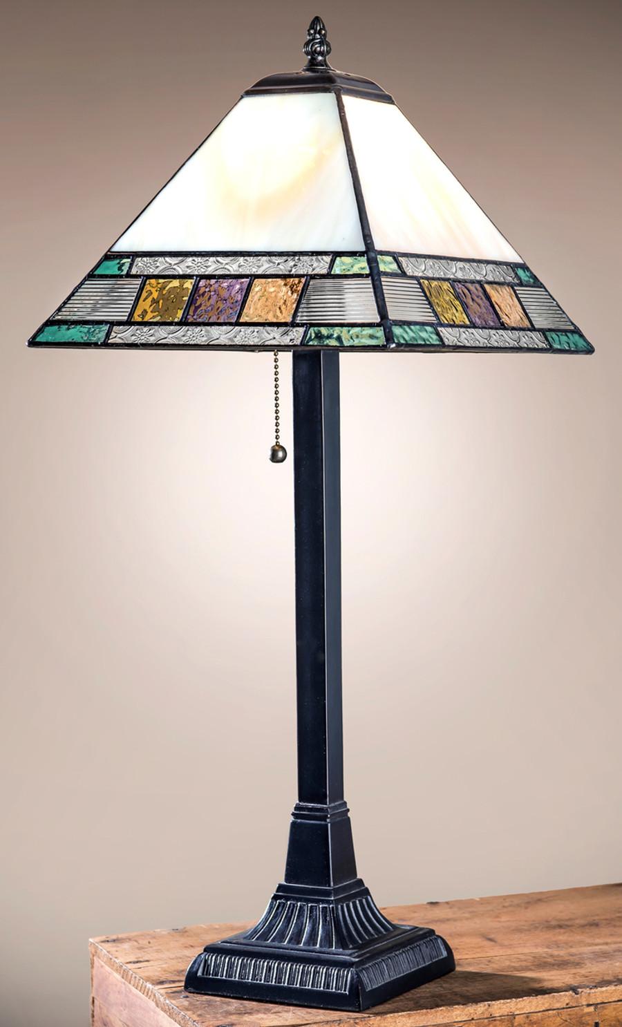 J. Devlin Lam 691 TB Pastel English Muffle Glass Table Lamp