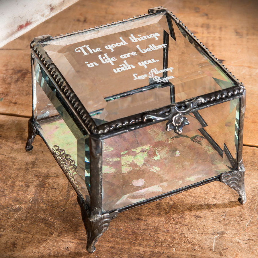 Personalize five lines of text on this personalized message keepsake box crafted by J. Devlin.