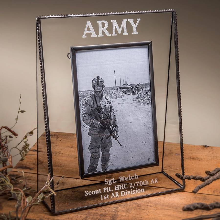 Military Veteran Service Personalized Horizontal or Vertical Picture Frame
