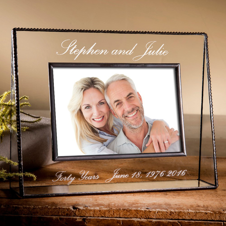 40 Year Anniversary Gift Personalized Engraved Horizontal or Vertical Picture Frame